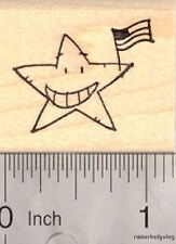 4th of July Star Rubber Stamp D17506 Wood Mounted