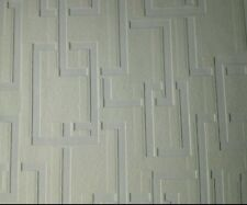 Anaglypta High Quality White Blown Vinyl Squares Textured Paintable Wallpaper