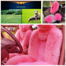 5pcs/set Fur Car Seat&Steering Wheel Cover Pink Wool Furry  Faux Three Season