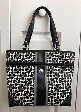 COACH Chelsea Heritage Stripe Signature Tote Bag-Black White Grey