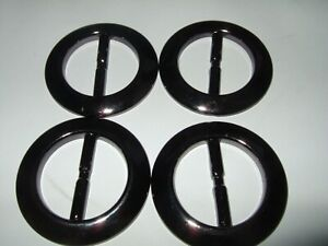 4  new strong glossy round black buckles to fit 50 cm /2 inch belt