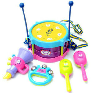 5pcs Kids Baby Roll Drum Musical Instruments Band Kit Children Toy Gifts Set