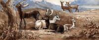 HERD OF DEER IN LANDSCAPE Victorian Watercolour Painting C LOUISA MACKAY 1873