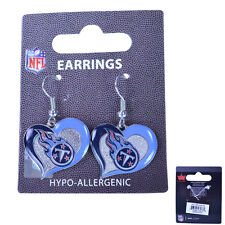 Brand New NFL Tennessee Titans Swirl Heart Earring Dangle Charm