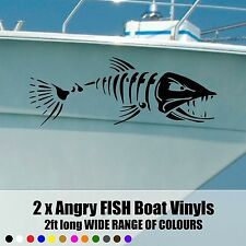 ANGRY FISH BOAT Decals / Stickers 600x210 -2ft long x2