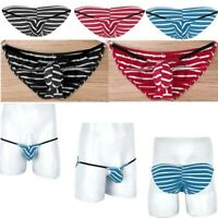 Mens String Briefs Pouch Tanga Underwear Stretch Cotton Knickers Stripe Thong