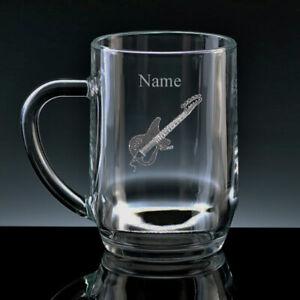 Personalised GUITAR Half Pint or Pint Beer Glass Tankard FREE ENGRAVING Gift NEW