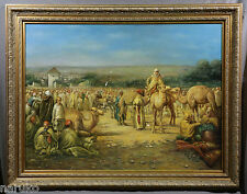 LARGE ORIENTAL 44 X 56 OIL PAINTING SIGNED CAPRIK ON CANVAS CAMELS W ARAB RIDERS