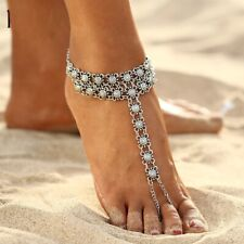 Ankle Bracelet Bohemian Flower Anklet Silver Tassel Leg Jewelry Barefoot Sandal