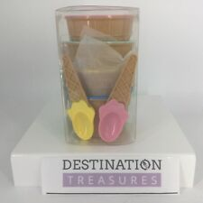 """Ice Cream Museum Set of 4 """"Cone"""" Dishes Bowls and Spoons NIB"""