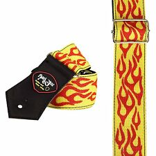 RED Flame on YELLOW guitar STRAP (2543) adjustable rock metal strong fire djent