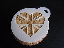 Taglio laser piccola Union Jack Cuore Design CAKE, biscotti, CRAFT & Face Painting Stencil