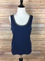 Talbots Women's Size Petite Large Dark Blue Sleeveless Blouse 100% Cotton, A3