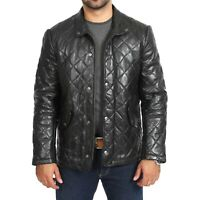 genuine sheepskin men's quilted leather jacket butter soft leather coat