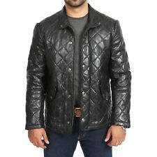 Genuine Sheep Skin Men's Quilted Leather Jacket Butter Soft Leather Coat