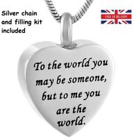 To the World Cremation Urn Pendant Ashes Necklace Funeral Memorial Jewellery UK