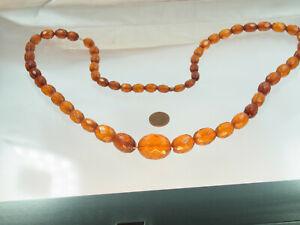 Antike Bernstein Kette Oliven Königsberger Schliff Honigfarben 76 cm 42,7 Gramm