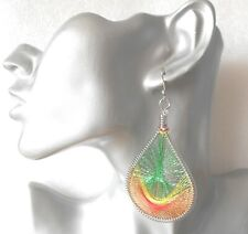Gorgeous Big Glittery Green/Red Teardrop Thread Earrings - Clip-on by Request