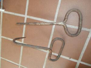 Lot of 2 Original Primitive Vintage Rusty Rustic Hay Hook