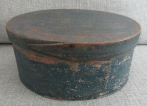 Antique Large Oval Shaker Pantry Box with Original Blue Paint and Lid- Excellent