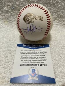 HAROLD BAINES Signed AUTOGRAPHED 2005 WORLD SERIES Baseball BECKETT WHITE SOX