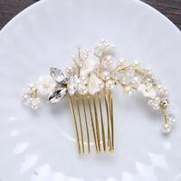 Gold Bridal Hair Comb Hairclip Headwear Crystal Pearl Flower Wedding Party Tiara