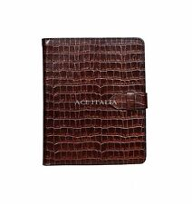 New Cover Case Stand iPAD 2 3 & 4 Brown Croc Print Luxury Real Genuine Leather