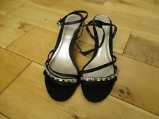 New CLARKS Ladies Black Strappy Ankle Strap Diamante Evening Kitten Heel Shoes 4
