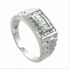 925 Silver Men's Chunky Designer Inspired CZ Band Ring Size 9