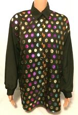 Jeri Marque Shirt Womens Size Large Black with Colored Spots Long Sleeve Blouse