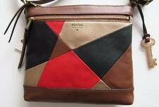 Fossil Gift Red Multi Patchwork Leather Crossbody Bag #ZB6690995 NWT