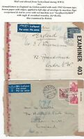 # 1943 x 2 SWITZERLAND AIRMAIL COVERS TO LONDON EX PONTRESINA & ASCONA CENSORED