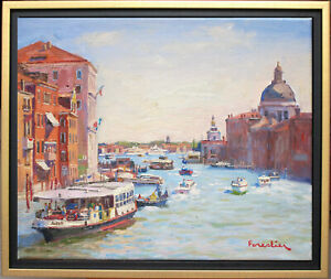 BOATS IN VENICE~ITALY~LISTED ARTIST~ORIGINAL OIL PAINTING BY MARC FORESTIER