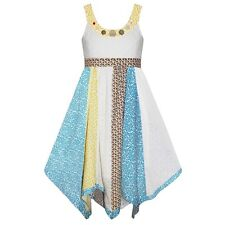 Girls Large Button Spattal Dress New Kids Sleeveless Party Dresses 3-11 Years