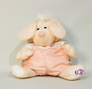 Fisher Price 1986 Puffalump Peach Puppy Dog 16in  Nylon Plush Removable Outfit