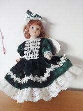 Vintage Leonardo Porcelain Doll Figurine - Green Velvet Dress