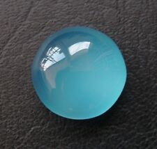 LARGE 16mm ROUND CABOCHON-CUT STRONG-BLUE NATURAL INDIAN CHALCEDONY GEMSTONE