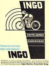 Bicycle Bike Ingo Eiserfeld Germany german ad 1929 racing boy advertising +