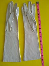 FRANCE CREAM LEATHER OPERA GLOVES VINTAGE LADIES WOMENS FRENCH HIGH SOCIETY SEXY
