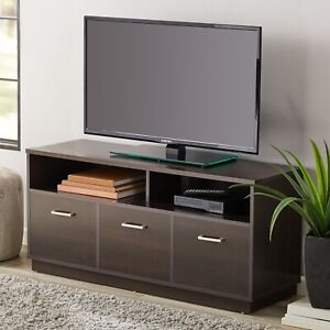 Espresso-Finish Traditional TV Stand With Additional Storage Space