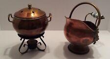 Rare Set* Copper Potpourri Burner & Small Brass Kettle Lion Head Delft Handle