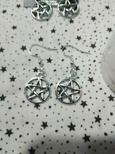 Pentacle Wicca Witch  pentagram earrings with 925 sterling silver ear hooks Look