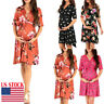 Women's Comfortable Casual Daily Wear Pregnant Maternity Floral Print Maxi Dress