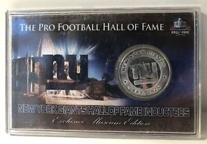 The Pro Football Hall of Fame New York Giants Inductees Silver Plated Medallion