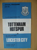 Football League Division One 1972- TOTTENHAM HOTSPUR v LEICESTER CITY, 29 April