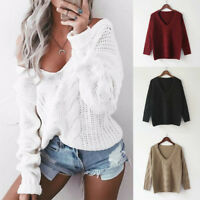 Fashion Womens Sexy V neck Sweater Oversized Baggy Jumper Knitted Warm Chunky3C