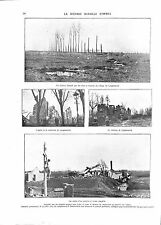 WWI Bataille d'Ypres Ruines Village Eglise Cimetière de Langemark ILLUSTRATION