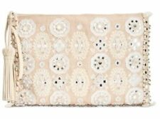 Angel by L. Martino $98 NWT Lily Large Clutch Top Zip Wristlet Embroidery Beads