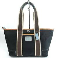 Coach Hampton Weekend 6261 Black Nylon Tote Handbag Purse Shoulder Satchel Brown