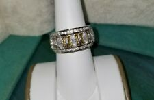 Ross Simons 18k yellow gold/Sterling silver marquise cz yellow wide ring